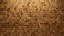 Natural Tiles Arranged To Create A 3D Wall. Wood, Square Background Formed From Soft Sheen Blocks. 3D Render