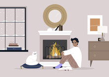 A Young Male Character Sitting On The Floor In Front Of The Mantelpiece, Cozy Winter Interior, Pet Friendly Environment