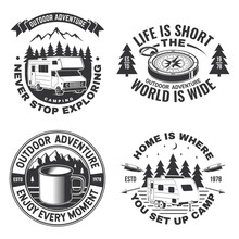 Set Of Camping Badges, Patches. Vector Illustration. Concept For Shirt Or Logo, Print, Stamp Or Tee. Vintage Typography Design With Camping Equipment, Forest, Camper Trailer And Mountain Silhouette