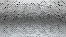 Fish Scale Tiles Arranged To Create A Silver Wall. 3D, Glossy Background Formed From Luxurious Blocks. 3D Render
