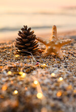 New Year Vertical Card. A Pine Cone And A Starfish Stand On The Seashore At Sunset With Lights From A Garland. Selective Focus On The Bump.