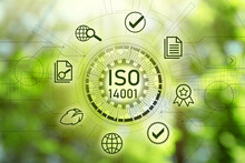 International Organization For Standardization (ISO 14001). Different Virtual Icons On Blurred Green Background