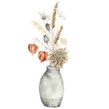 Watercolor Autumn Bouquet In Vase Of Dry Flowers. Hand Painted Meadow Anise, Physalis, Dahlia And Poppy Isolated On White Background. Floral Wild Illustration For Design, Print, Fabric Or Background.