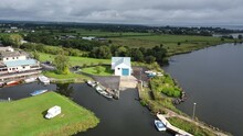 Aerial Footage Of Battery Harbour Ardboe Lifeboat Station  Lough Neagh Northern Ireland