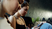Young Girls Totally Ignoring Each Other Because Of Their Smartphones
