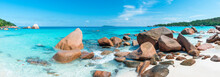 Anse Lazio Beach Panorama On Praslin, Seychelles