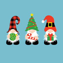 Christmas Gnomes With Candy Cane, Gifts, Ornament
