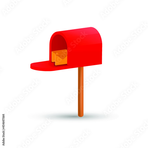 Fototapeta Mailbox with letters. Open red postbox