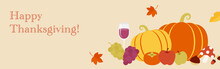 Thanksgiving Holiday Vector Background With  Fruits, Vegetables And Autumn Leaves For Banners, Cards, Flyers, Social Media Wallpapers, Etc.