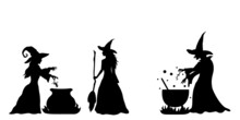 Simple Silhouettes Of Witches Who Brew A Potion In Boiler.