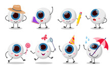 Set Of Cute, Funny Eyeball Character. Cartoon Vector Illustration. Human Organ Of Vision In Various Images, In Hat, With Pencil, Catching Butterflies, Enjoying Rain. Health Care, Eyesight Concept
