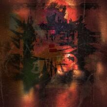 Abstract Hazy And Grunge Textured Dark Orange And Black Background Illustration