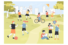 Cute Little Children Spending Time In Park Or Summer Camp. Kids Playing Football And Badminton On Playground Flat Vector Illustration. Childhood, Outdoor Activity Concept For Banner, Website Design