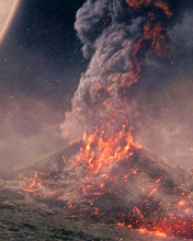 Volcano In Space Erupting. Liquid Lava. Planets With Volcano
