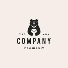 Moon Black Bear Vietnam Shop Shopping Bag Hipster Vintage Logo Vector Icon Illustration