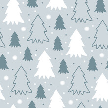 Cute Winter Seamless Pattern With Cartoon Christmas Trees And Snowflakes In Flat Style On Grey-blue Background. Modern Simple Vector Illustration