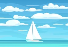 Sailing Yacht. Calm Blue Sea. White Single Masted Vessel With Classic Hull Lines. Sky And Clouds. View From Afar. Flat Style. Vector.