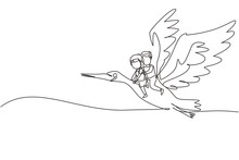 Single Continuous Line Drawing Happy Little Boy And Girl Flying With Stork Together. Children Fly And Sitting On Back Stork Bird At Sky. Kids Learning To Ride Cute Stork. One Line Draw Graphic Vector