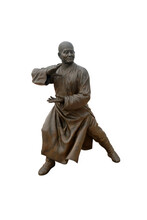 Metal Statue Of  Shaolin Martial Arts Represented By Temple's Fighting Monk. Shaolin Kung Fu Isolated On White Background With Clipping Path.