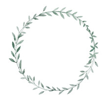 A Delicate Wreath Of Gray-green Twigs With Leaves. Watercolor Illustration.