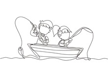 Single One Line Drawing Smiling Little Boys And Girls Fishing Together On Boat. Happy Children Fishing On Boat Out In The Sea. Fisher Kids. Continuous Line Draw Design Graphic Vector Illustration