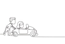 Continuous One Line Drawing A Boy Is Pushing His Friend's Car In The Road. Boy And Girl Play With Big Toy Car Together. Kids Having Fun With At Backyard. Single Line Design Vector Graphic Illustration