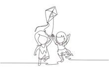 Single One Line Drawing Two Girl Playing To Fly Kite Up Into Sky At Outdoor Field. Kids Playing Kite In Playground. Children With Kites Game And They Look Happy. Continuous Line Draw Design Graphic