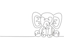 Single One Line Drawing Elephant Plush Doll. Elephant Plush Stuffed Puppet. Jumbo Plush Toy. Cute Stuffed Elephant Toy For Children. Modern Continuous Line Draw Design Graphic Vector Illustration