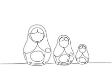 Continuous One Line Drawing Matryoshka Russian Nesting Dolls Of Different Sizes, Souvenir From Russia. Traditional Russian Matryoshka Dolls Souvenir. Single Line Design Vector Graphic Illustration