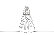 Single One Line Drawing Fairy Tale Doll Princesses. Beautiful Fairytale Elf Princess. Romantic Story. Wonderland. Stuffed Toys For Girls. Modern Continuous Line Draw Design Graphic Vector Illustration