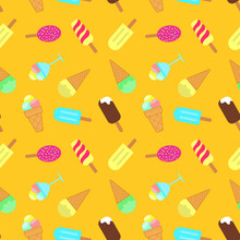 Ice Cream Seamless Pattern. Popsicle, Scoop Of Ice Cream In A Vase, Chocolate Ball Icing Waffle Cup, Sweet Cold Dessert. Design For Fabric, Textile Print, Wrapping Paper, Cover