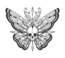 Hand Drawn Skull Butterfly Tattoo