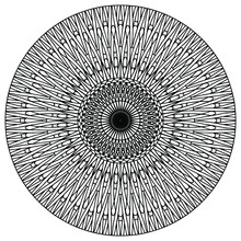 Linear Figures Forming An Abstract Mandala For Coloring On A White Background, Vector