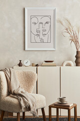 Stylish composition of cozy living room interior design with mock up poster frame, fluffy armchair, coffee table, commode and personal accessories. Modern style. Template.