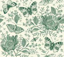 Seamless Pattern Flowers. Butterflies Peacock Moths Insect Fly. Blooming Poppy Poppies Realistic Isolated. Vintage Fabric Background. Set Wildflowers. Drawing Engraving. Vector Victorian Illustration