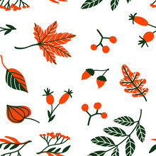 Seamless Pattern Autumn Leaves And Berries Isolated On White. Vector Illustration For Card, Textile, Fabric, Wallpaper, Wrapping, Scrapbooking