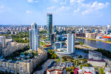 Aerial View Panorama Of Yekaterinburg City Center. View From Above. Russia