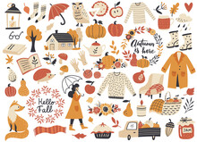 Autumn Set, Fall Clip Art, Design Elements Collection With Leaf, Pumpkins, Sweater, Wreaths, And Others. Hand Drawn Vector Illustration.