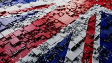British Flag Rendered As Futuristic 3D Blocks. United Kingdom Network Concept. Tech Background.