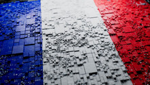 French Flag Rendered As Futuristic 3D Blocks. France Network Concept. Tech Background.