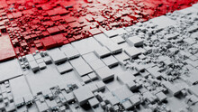 Indonesian Colors Rendered As Futuristic 3D Blocks. Indonesia Network Concept. Tech Background.