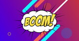 Boom text on retro speech bubble against abstract shapes on purple background