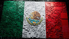 Flag Of Mexico Rendered In A Futuristic 3D Style. Mexican Innovation Concept. Tech Background.