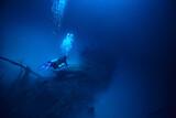 Fototapeta Kawa jest smaczna - cenote angelita, mexico, cave diving, extreme adventure underwater, landscape under water fog