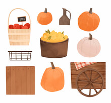 Watercolor Autumn Harvest Illustrations With Pumpkins, Apple Basket, Yellow Flowers, Wooden Box, Cart With Wheel. Fall Digital Elements. Perfect For Invitations, Cards, Posters, Prints, Social Media