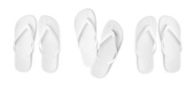 Set With Stylish Flip Flops On White Background, Top View. Banner Design