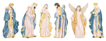 Christmas Clip Art Collections With Jesus, Virgin Mery And Angels