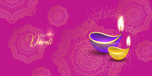Diwali Festival Holiday Design With Paper Cut Style Of Indian Rangoli. Happy Diwali. Paper Graphic Of Indian Rangoli. Gold Mandala On Purple Pink Yellow Background. Design For Banner, Invitation, Menu