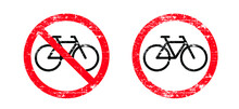 Stop Halt Allowed, No Bicycle Or Forbid Parking Space Zone Or Bike Route. Sport Cyclist Banner. No Ban Cycling Icon. Old Vector Bike To Parking Area Signboard. Vintage Rusty Metal Sign.