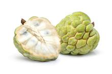 Custard Apple (sugar Apple, Annona, Cherimoya Fruit) And Cut In Half Sliced Isolated On White Background.